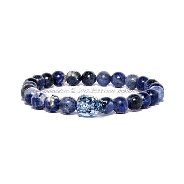 Bratara cu cristal Swarovski si Sodalit - Blue Skull