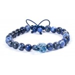 Bratara barbateasca Swarovski original - Blue Skull rELOADED
